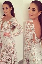 Sexy Lace Long Prom Dress Sleeve Sheath See Through Evening Party Gowns