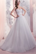 A-Line Floor-Length Sweetheart Sleeveless Corset-Back Organza Dress With Lace Appliques And Beading