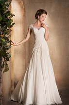 A-Line Long Scoop-Neck Cap-Sleeve Lace-Up Chiffon Dress With Ruching And Appliques