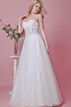 Strapless Backless A-line Lace and Tulle Gown