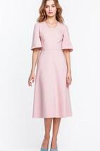 V Neck Bell Sleeve A-line Satin Knee Length Dress