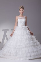 Sleeveless Tiered A-Line Dress With Keyhole Back and Illusion Neckline
