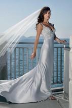 sheath Spaghetti Straps V-neck Elatic Woven Satin Wedding Dress