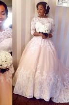 Graceful Scalloped Bateau Neck Lace Ball Gown With 3-4 Sleeves