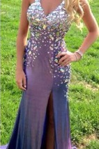 Sexy Crystal Beadings V-Neck Prom Gowns Front Spilt Evening Dresses
