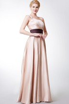 Elegant One-sided Soft-ruched Banded Long Satin Bridesmaid Dress