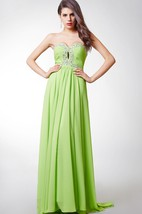 Classic Ruched Crystal Detailing Sweetheart Flowy Chiffon Prom Gown