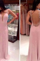 2016 Prom Dresses Deep V Neck Straps Pink Sheer Back Beading Sweep Train Evening Giowns