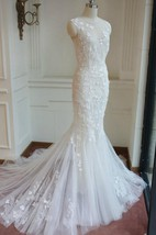 Mermaid Floor-Length Sleeveless Bell Appliques Button Zipper Keyhole Tulle Lace Dress