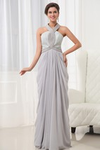Graceful Vintage Halter A-Line Chiffon Gown Lace Bodice Beading Details