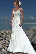 A-Line Sweetheart Ruffles Beading Chiffon Court Train Wedding Dress