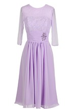 3-4-length Sleeve Rhinestoned A-line Gown With Lace Appliques
