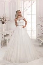 Scalloped Neckline Lace&Tulle Lace-up Dress with Crystal Detailing