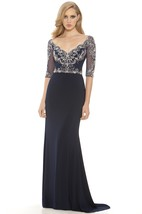 Sheath Floor-Length V-Neck Half Sleeve Chiffon Beading Illusion Dress
