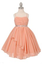 Spaghetti Straps Pleated A-line Chiffon Long Dress With Beadings and Lace Up