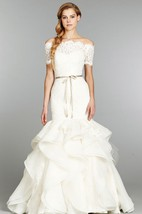 Delicate Lace Organza Gown With Detachable Off the Shoulder Bolero