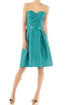 Vintage Strapless Pleated Satin Short Dress