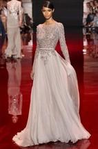A-line High Neck Long Sleeves Applique Floor-length Chiffon Dress