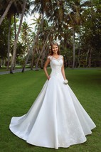 A-Line Floor-Length V-Neck Cap-Sleeve Corset-Back Satin Dress With Appliques
