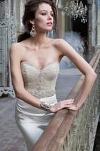 Stunning Beaded Jeweled Embellished Bodice Satin Trumpet Dress