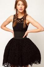 Sleeveless Scoop Neck Pleated Lace Mini Dress