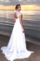Cap Sleeve A-Line Chiffon V-Neck Dress With Keyhole Back