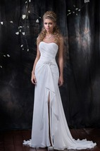 Sheath Maxi Sweetheart Sleeveless Lace-Up Chiffon Dress With Split Front And Draping