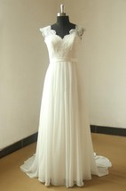 Cap Sleeve Queen Anne Neckline Long Chiffon Dress With Satin Sash