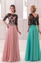 A-Line Floor-Length Sweep High-Neck Half Sleeve Chiffon Beading Lace Low-V Back Dress