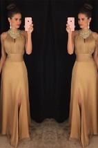 Elegant Beadings Front Split 2016 Prom Dress A-line Halter Sleeveless