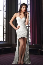 Delicate High Low Lace Wedding Dress With Trains