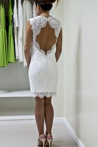 Form-Fitted Lace Sleeveless Dress With Queen Anne Neckline and Keyhole Back