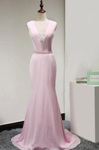 Illusion Jewel Neckline Mermaid Chiffon Long Dress With Illusion Lace Back