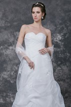 Organza Dress Shawl With Lace Appliques