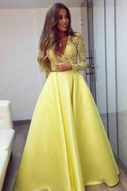 Stunning Yellow Long Sleeve 2016 Prom Dress V-Neck Lace