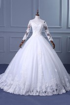 A-Line Ball Gown Tea-Length Off-The-Shoulder One-Shoulder Straps Long Sleeve Beading Appliques Brush Train Straps Tulle Lace Sequins Satin Dress