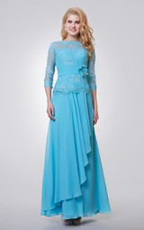 3-4 Length Sleeve Long Chiffon and Lace Dress With Side Draping