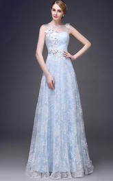 Romantic Jewel Neck A-Line Appliques Long Prom Dress