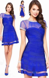 A-Line Short Bateau Short Sleeve Keyhole Dress With Beading