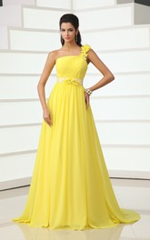 Wonderful Floral One-Shoulder A-Line Chiffon Gown Has Floral Sash