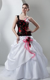 Floral Pick-Up One-Shoulder Lace and Gown With Beading