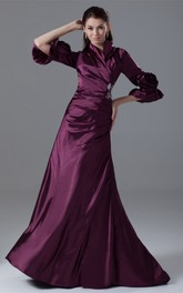 Exquisite Side-Ruched Long-Sleeve Beading and Gown With Flower