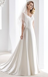 V-Neck Draping Satin Wedding Dress With Pleated Bodice And Brush Train