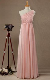 One Shoulder Empire Pleated A-line Chiffon Floor Length Dress