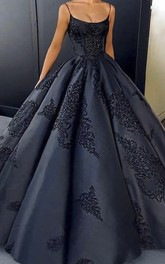 Open Back Spaghetti Elegant Satin Ball Gown With Lace Appliques And Ruffles