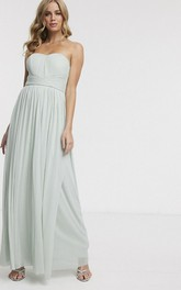 Sleeveless Chiffon Sweetheart With Ruching And Sash Ethereal Bridesmaid Dress