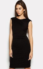 Bateau Cap Sleeve Sheath Jersey Short Dress With V Back