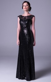 Sheath Appliqued Scoop-Neck Cap-Sleeve Floor-Length Sequins Prom Dress