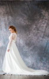 Organza Long Sleeve A-Line Bridal Gown With Illusion Back