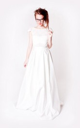 Satin Cap Sleeve A-Line Low-V Back Dress With Lace Bodice